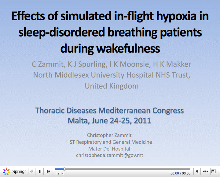 Effects of simulated in-flight hypoxia in sleep-disordered breathing patients during wakefulness. C. Zammit