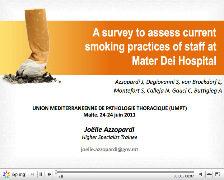 A survey to assess current smoking practices of staff at Mater Dei Hospital. Joelle Azzopardi