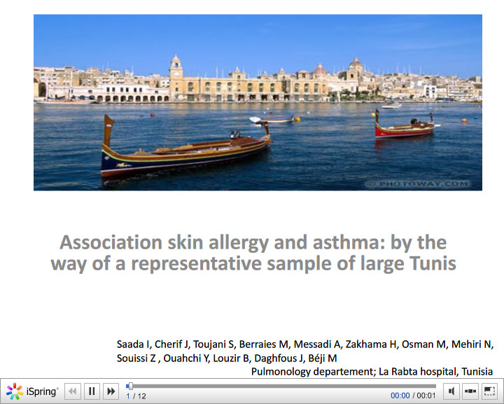 Association skin allergy and asthma by the way of a representative sample of large Tunis. I. Saada
